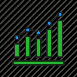 bar graph, chart, line graph, statistics icon