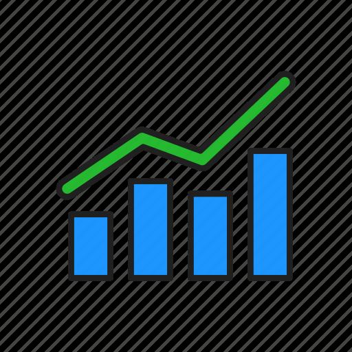 bar graph, chart, growth, line graph icon