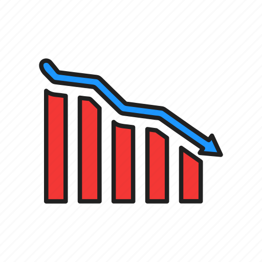 bar graph, chart, decline, line graph icon