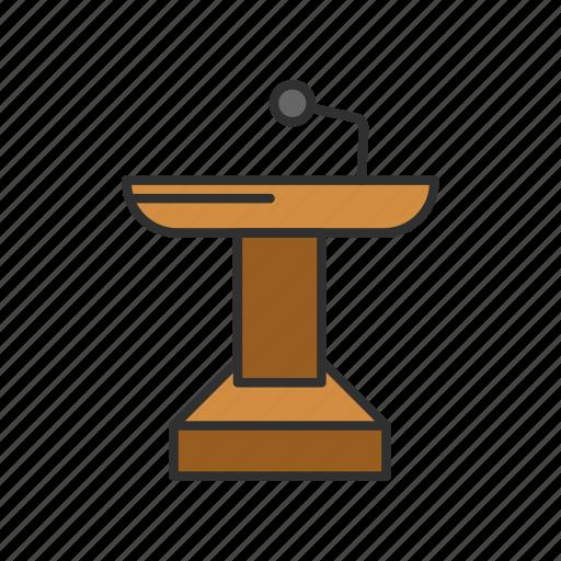 conference, female speaker, platform, podium icon