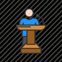 conference, male speaker, platform, speech icon