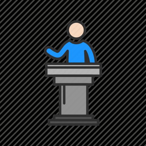 conference, female speaker, platform, pulpit icon