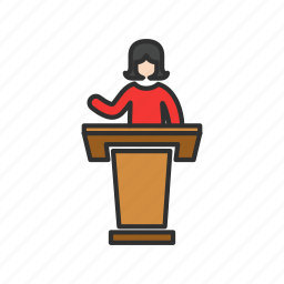 conference, female speaker, platform, presentation icon