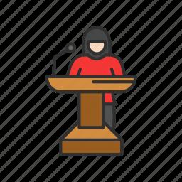 conference, female speaker, presentation, speech icon