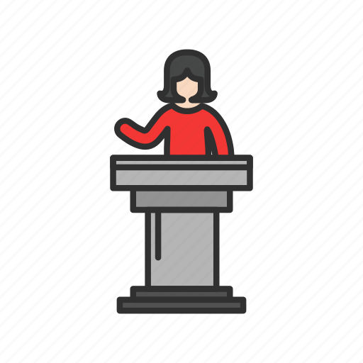 conference, female speaker, pulpit, speech icon