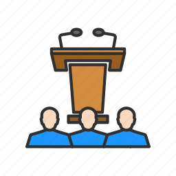 conference, microphone, speaker, speech icon