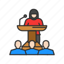 conference, female speaker, presentation, speech icon