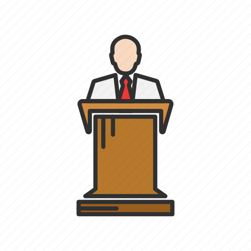 conference, male speaker, pulpit, speech icon