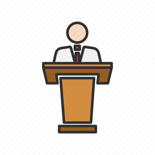 conference, male speaker, speech, teacher icon