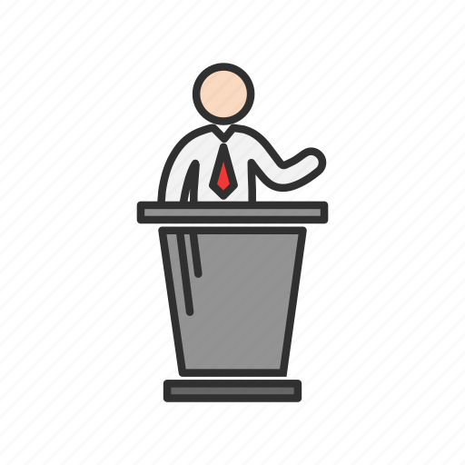 conference, male speaker, speech, teacher icon