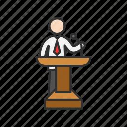 conference, male speaker, presentation, speech icon