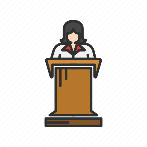 conference, speech, teacher, woman speaker icon