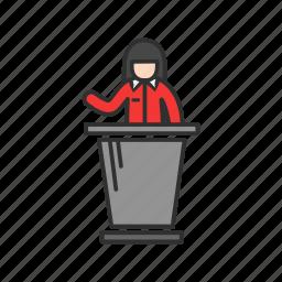 conference, female speaker, speech, teacher icon