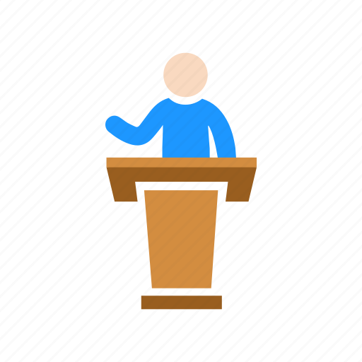 conference, male speaker, presentation, pulpit icon