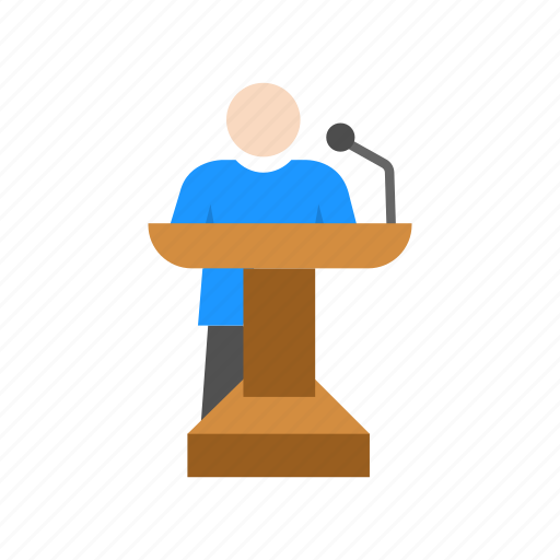 conference, male speaker, podium, speech icon
