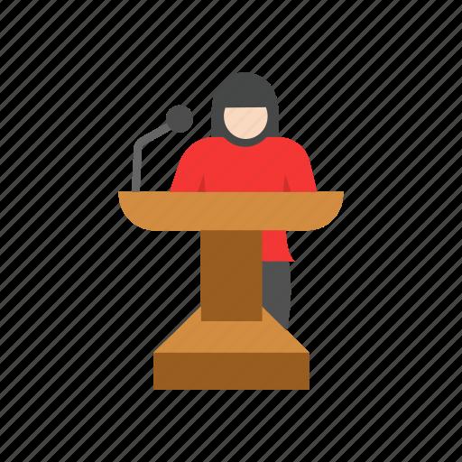 communication, conference, female speaker, speech icon