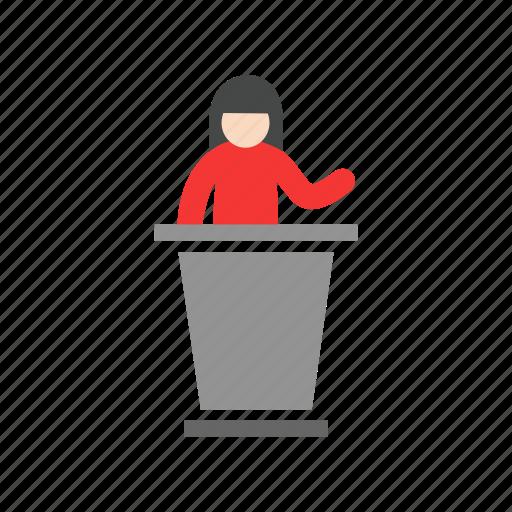 conference, female speaker, presentation, pulpit icon