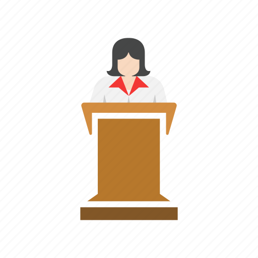 conference, female speaker, meeting, presentation icon