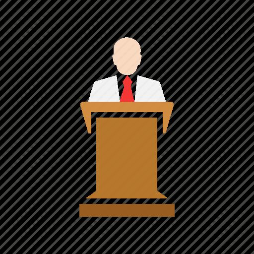 conference, male speaker, presentation, pulpit icon