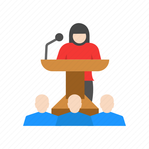 audience, conference, female speaker, presentation icon