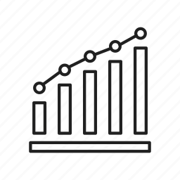bar chart, bar graph, growth, increase, line graph, mixed graph, trending up icon