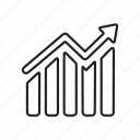 bar chart, bar graph, growth, increase, line graph, mixed trend, trending up icon