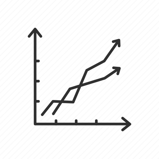 double line chart, double line graph, growth, line chart, line graph, rally, stocks icon
