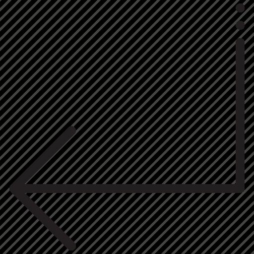 arrow, arrows, back, left, navigation, pointer, subdirectory icon