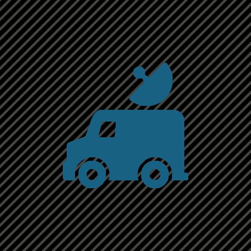 news van, press, satellite dish, van icon
