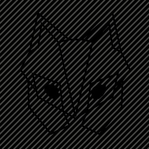 animal, fox, geometric, head, linework, nature, wild icon