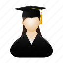 female, girl, graduate, graduation, lady, people, woman icon