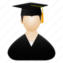 avatar, graduate, human, male, man, person, profile icon