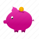 bank, piggy, coin, currency, dollar, money, payment icon