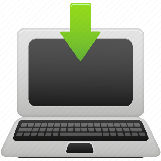 download, laptop, to icon