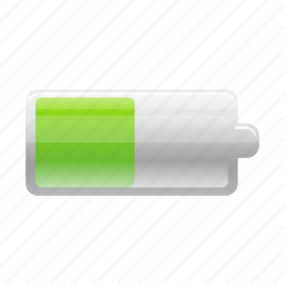 battery, charge, electric, electricity, energy, half, power icon