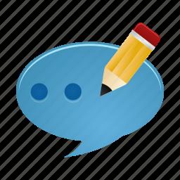 chat, comment, communication, conversation, edit, message icon