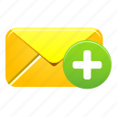 add, email, envelope, mail, message, new, plus