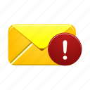 alert, email, envelope, inbox, mail, message, warning icon