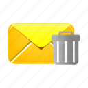 delete, email, letter, mail, message, remove, trash icon