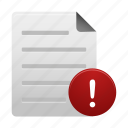 document, documents, file, files, page, paper, warning icon