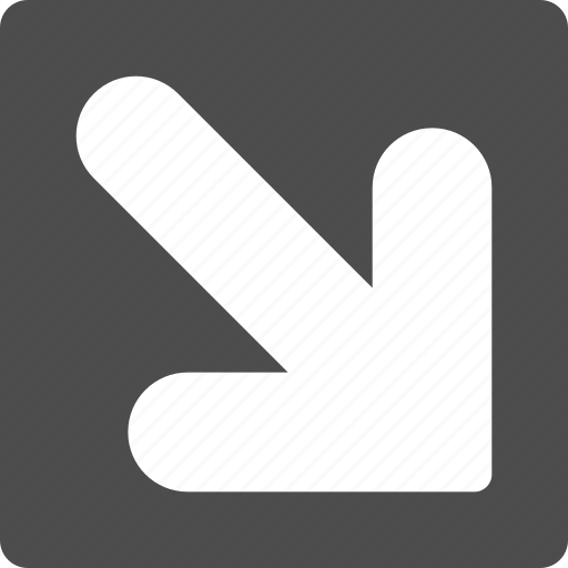 decrease, down right, export, move, navigation, pointer, pointing arrow icon