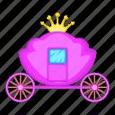 carriage, pink, princess, royal icon