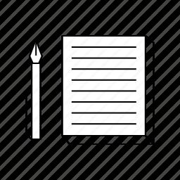 memo, pen, print, shop icon