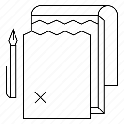 contract, pad, pen, print, shop, sign, torn icon