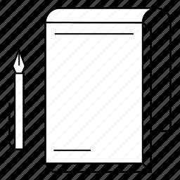 pad, pen, print, shop icon