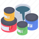 bucket colors, dye colors, paint colors, paint jars, poster colors, stain colors icon