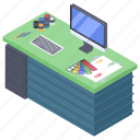 business office, work table, workplace, workspace, workstation icon