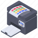 color printer, copying machine, hard copy machine, output device, printing machine icon