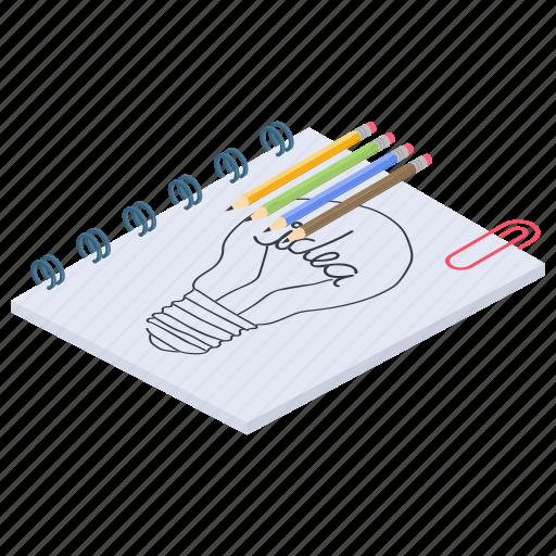 creative sketch, draftbook, scrapbook, sketchbook, sketchpad icon