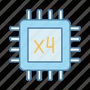 chip, cpu, four core, microprocessor, multi-core, processor, quad core